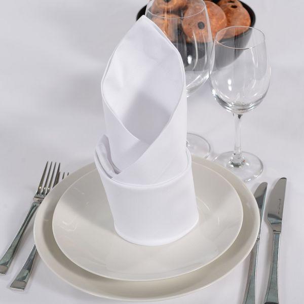 Serviette GOURMET ca. 50x50 cm weiß, Saum 3,5 cm breit