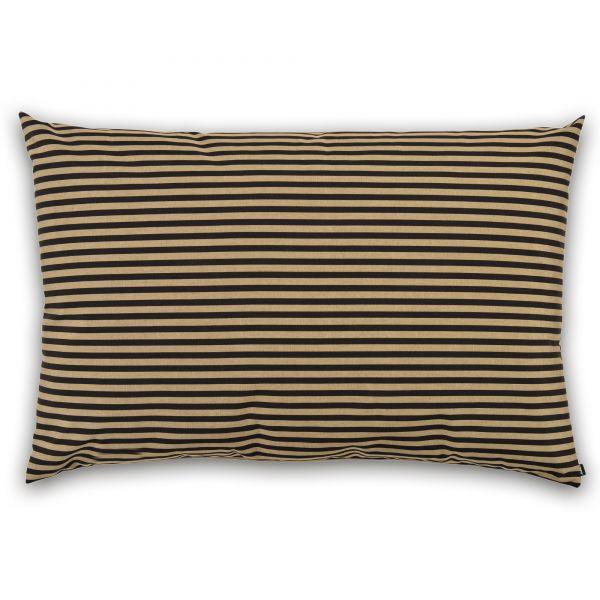 Kissenhülle Outdoor Streifen schwarz/sand 80x120 cm